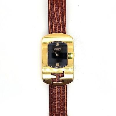 Fendi Brown Leather Strap Watch