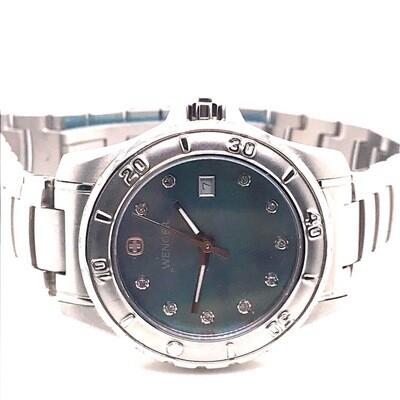 Wenger Blue Dial Steel Watch