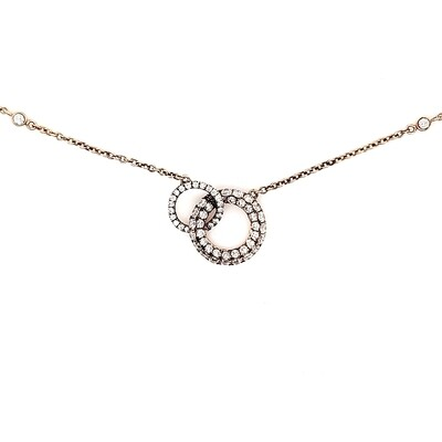 Ladies Rose Gold Pave Diamond Necklace