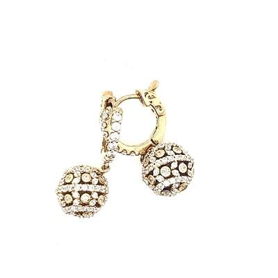 Sterling Silver CZ Round Dangle Earrings