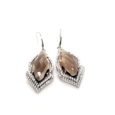 Sterling Silver CZ & Smokey Topaz Dangle Earrings