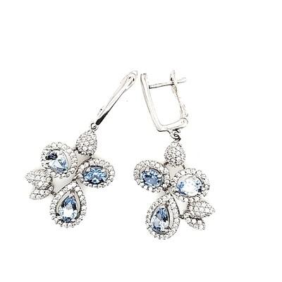 Sterling Silver Blue CZ Dangle Earrings