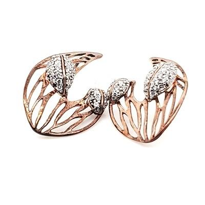 Sterling Silver Rose CZ Post Earrings
