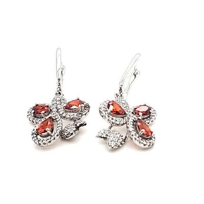 Sterling Silver Red CZ Dangle Earrings