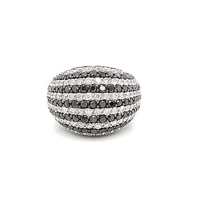 Ladies Black & White Diamond Dome Ring