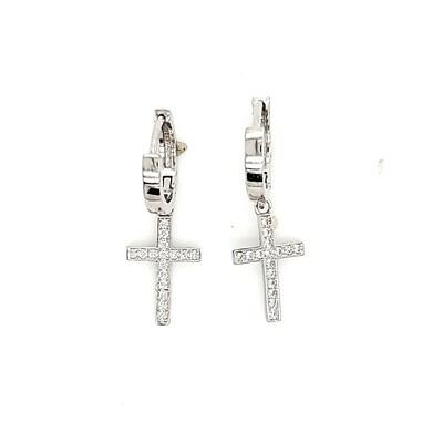Dangle Cross Sterling Silver CZ Earrings