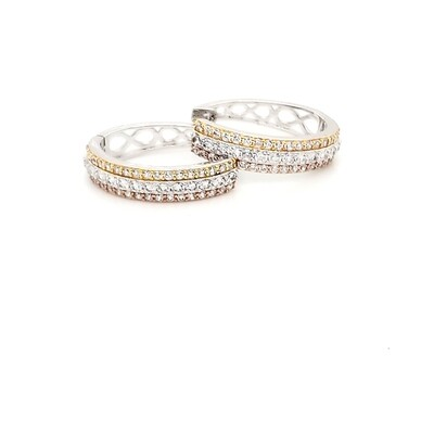 Oval Tri-Color Sterling Silver CZ Hoops