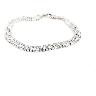 Triple Row Sterling Silver CZ Bracelet