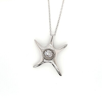 Dancing Diamonique Sterling Silver Starfish CZ Necklace