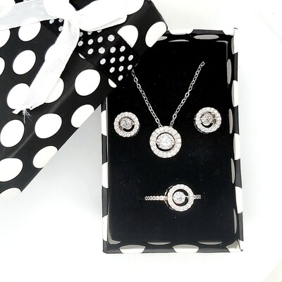 Dancing Diamonique Sterling Silver CZ Set Ring, Necklace, Earrings