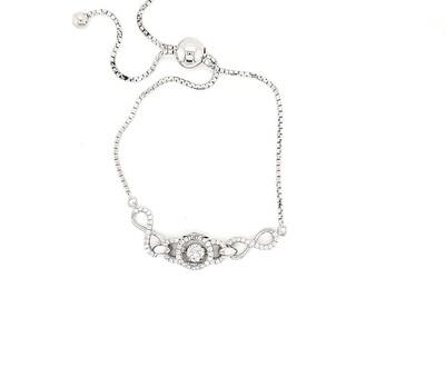 Dancing Diamonique Sterling Silver CZ Bolo Bracelet