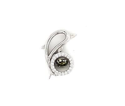 Dancing Diamonique Sterling Silver CZ Green Pendant