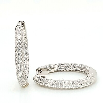Oval Pave In-Out Medium Sterling Silver CZ Earrings