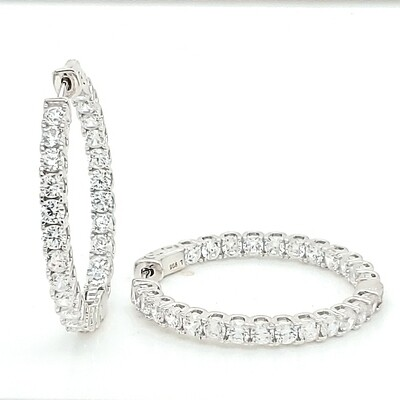 Round In-Out Sterling Silver CZ Earrings