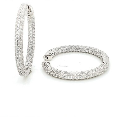 Round Pave In-Out Sterling Silver CZ Earrings