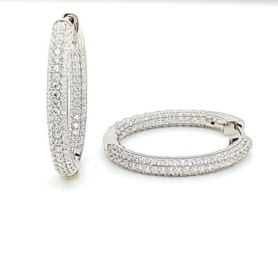 Oval Pave In-Out Small Sterling Silver CZ Earrings