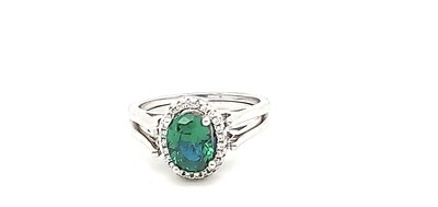 Sterling Silver Blue Green Reversible CZ Ring