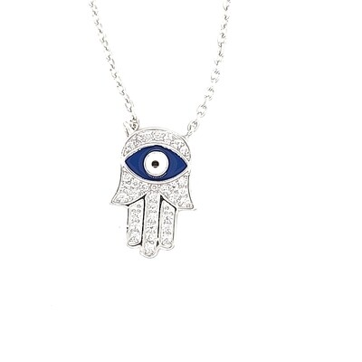 Sterling Silver CZ Hand of God Necklace