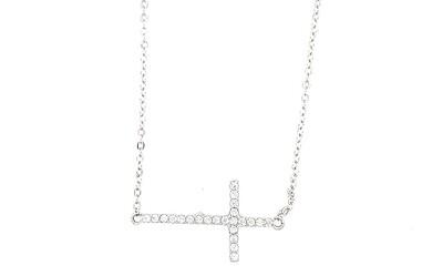 Sterling Silver CZ Cross Necklace