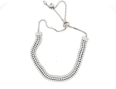 Sterling Silver CZ Bolo Bracelet
