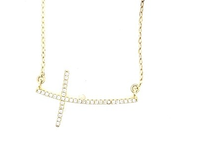 Sterling Silver CZ Cross Gold Necklace