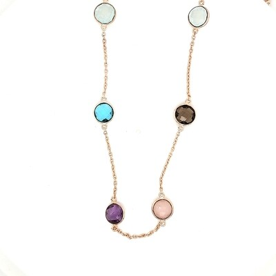 Sterling Silver Multi Color Rose Necklace