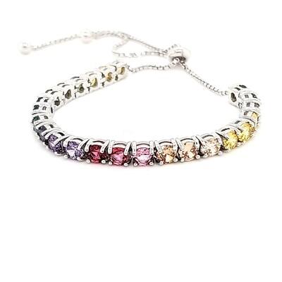 Sterling Silver Multi Color Bolo Bracelet
