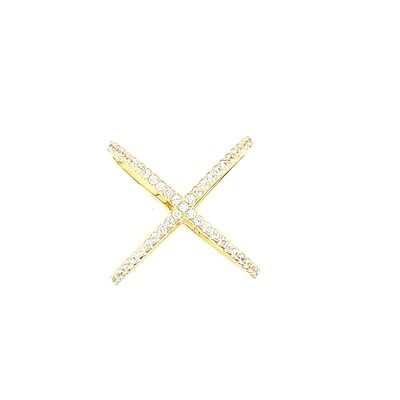 Sterling Silver Criss Cross Gold Ring