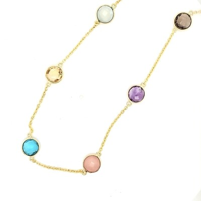 Sterling Silver Multi Stone Gold Necklace