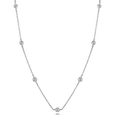 Sterling Silver CZ Diamond by the Yard Necklace 36