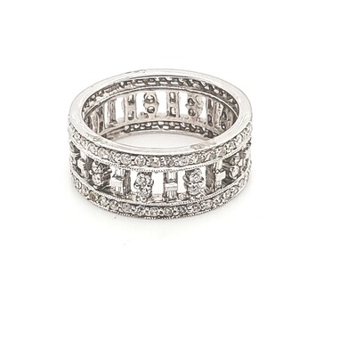 Ladies Baguette & Rounds Eternity Band