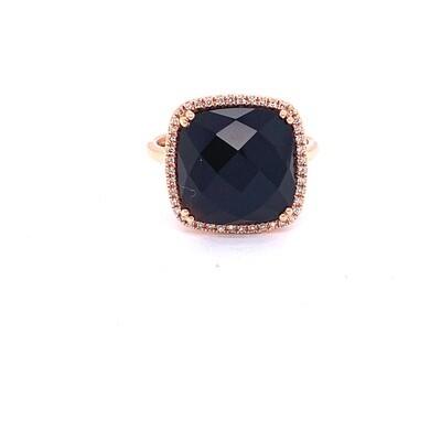 Ladies Rose Gold Onyx & Diamond Ring