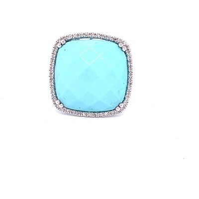 Ladies White Gold Turquoise Ring
