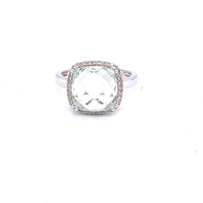 Ladies White Gold Green Amethyst Ring