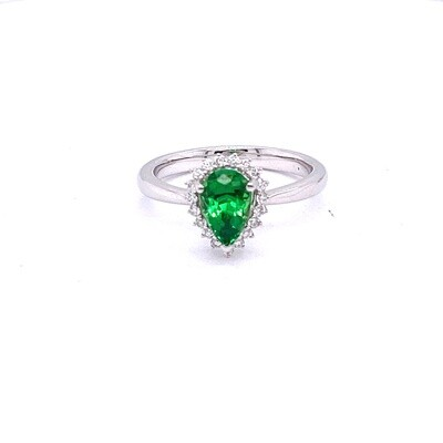 Ladies White Gold Tsavorite Ring