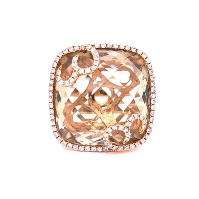 Ladies Rose Gold Smoky Topaz Ring