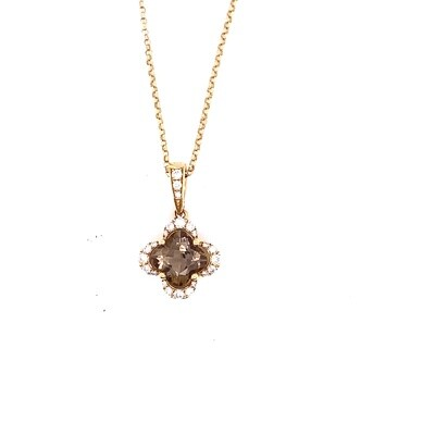 Ladies Yellow Gold Smoky Topaz Pendant
