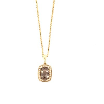 Ladies Yellow Gold Smoky Topaz Necklace