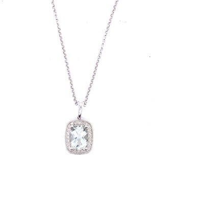Ladies White Gold Green Amethyst Necklace
