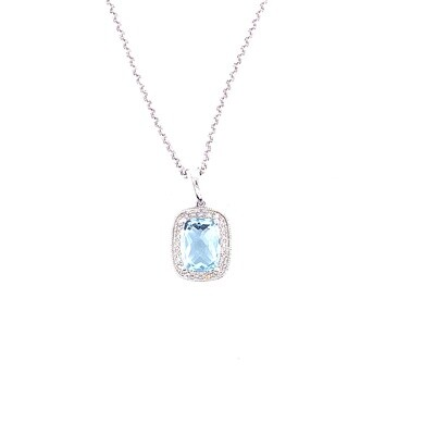Ladies White Gold Blue Topaz Necklace