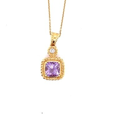 Ladies Yellow Gold Amethyst Pendant
