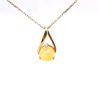 Ladies Yellow Gold Opal Pendant