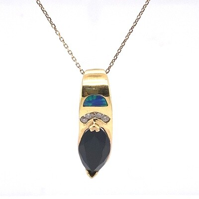 Ladies Yellow Gold Onyx Necklace