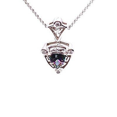 Ladies White Gold Rainbow Topaz Pendant