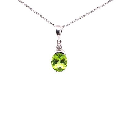 Ladies White Gold Peridot Pendant