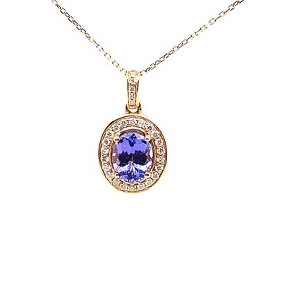 Ladies Yellow Gold Tanzanite Pendant