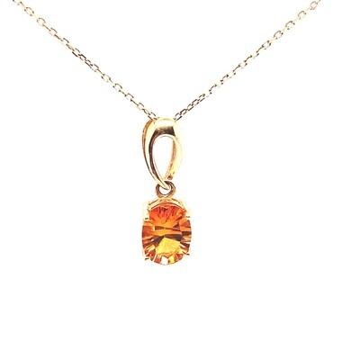 Ladies Yellow Gold Citrine Necklace