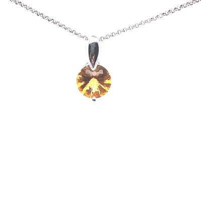 Ladies White Gold Citrine Pendant