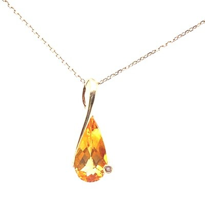 Ladies Yellow Gold Citrine Pendant