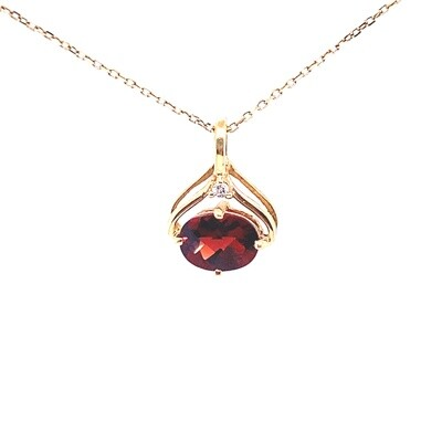 Ladies Yellow Gold Garnet Pendant
